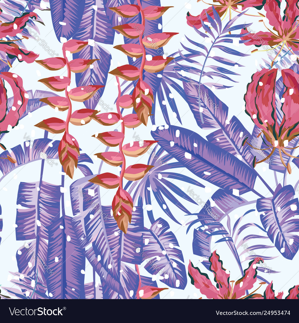 Winter tropical seamless composition flowers
