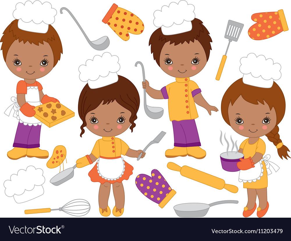 African American Little Chefs Set vector image