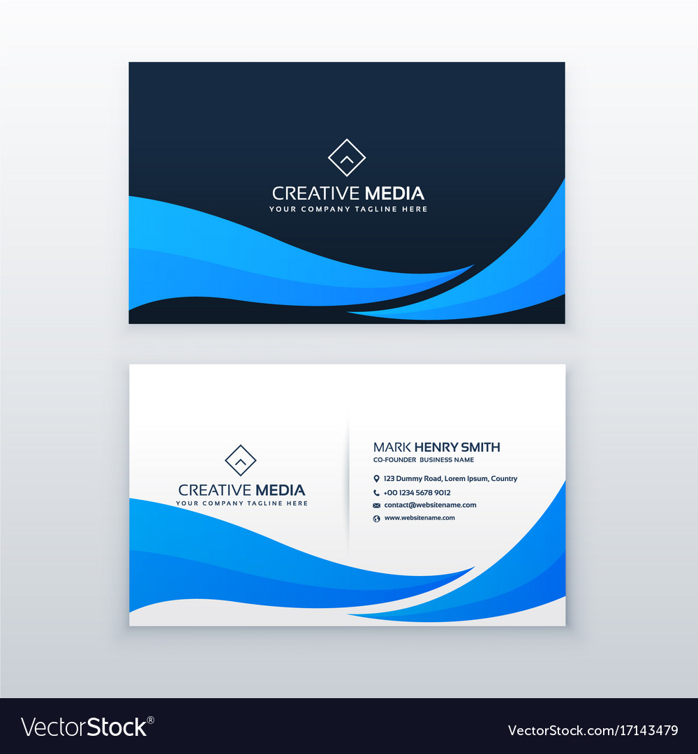 Blue Wave Business Card Design Template Royalty Free Vector
