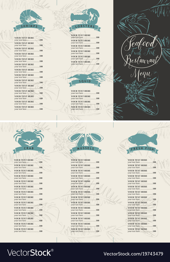 booklet menu with price for a seafood restaurant vector image