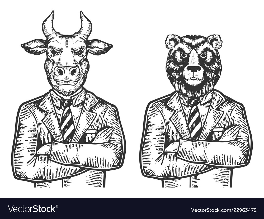 Bull bear businessmen engraving
