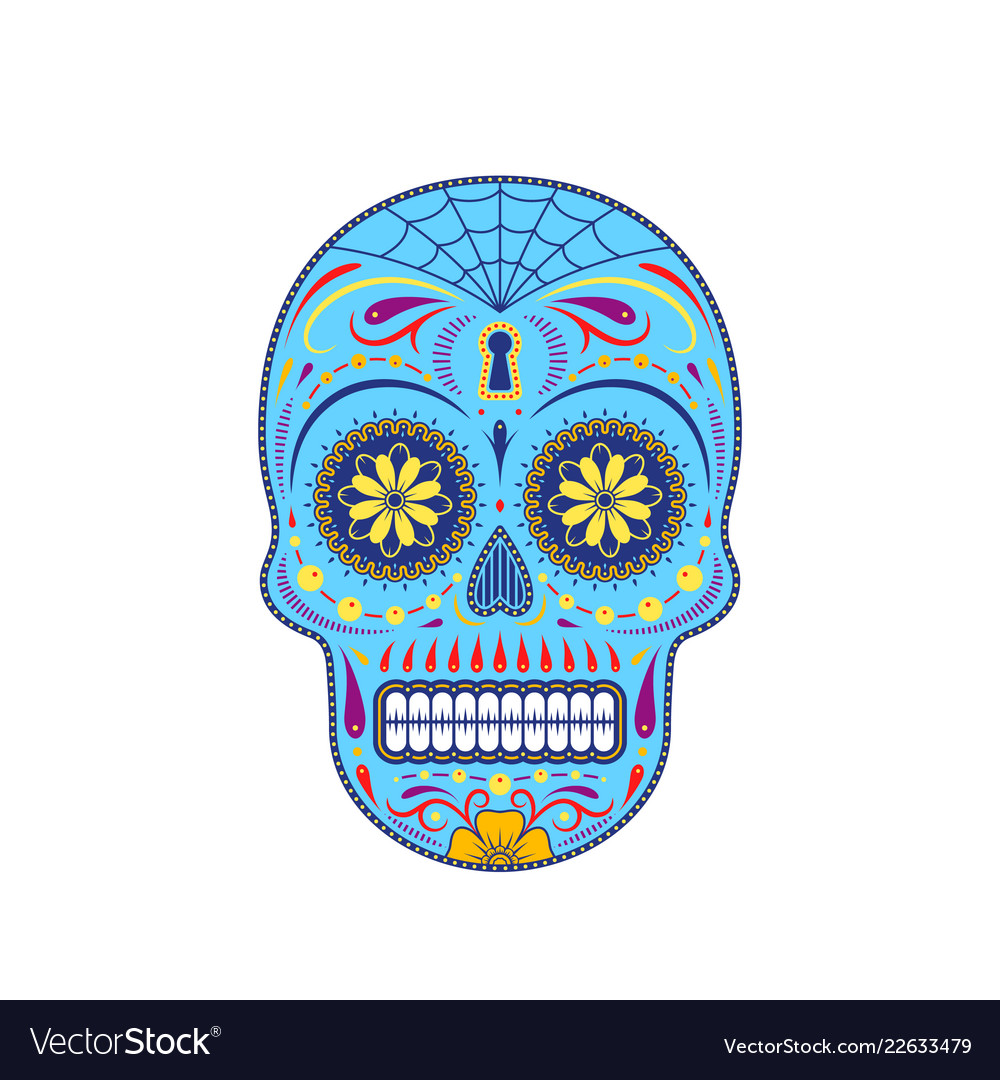 Decorative Colorful Sugar Skull Royalty Free Vector Image