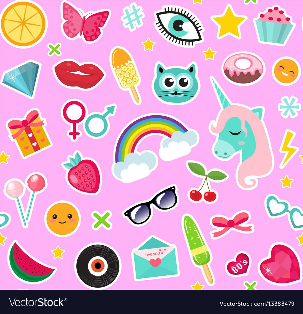 Fashion seamless pattern of patches 80s comic