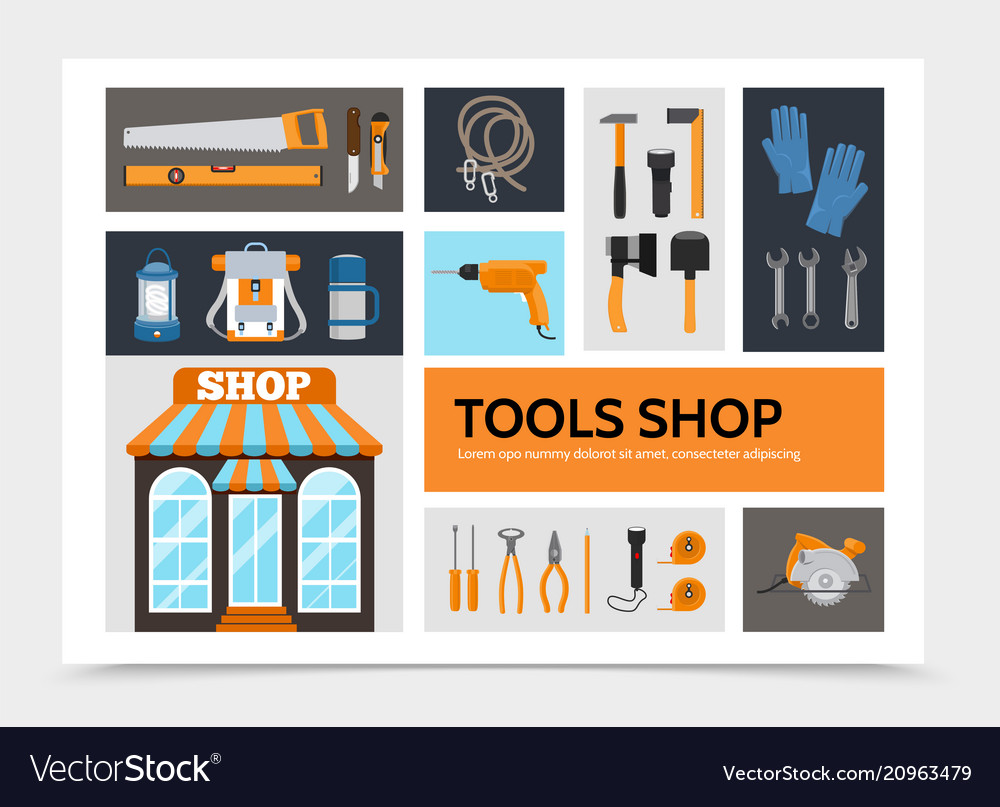 Flat tools shop infographic concept