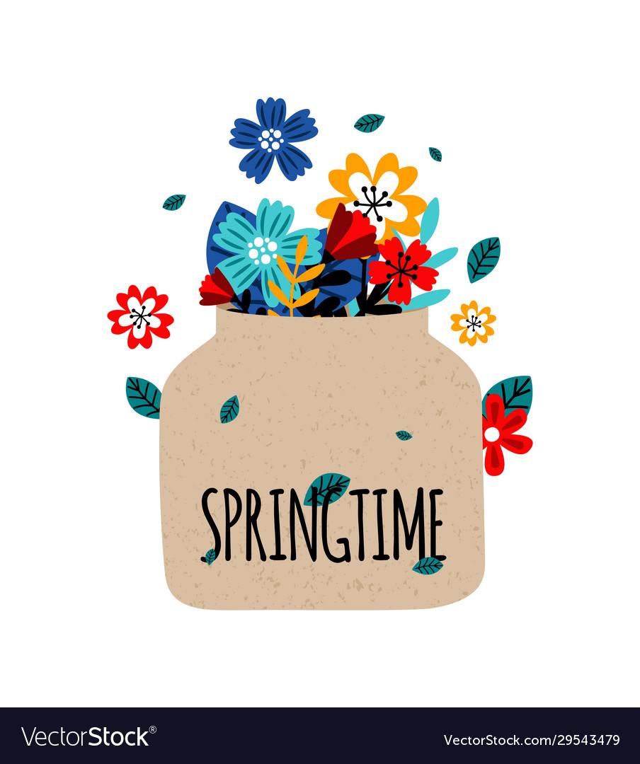 Flowers bouquet springtime concept