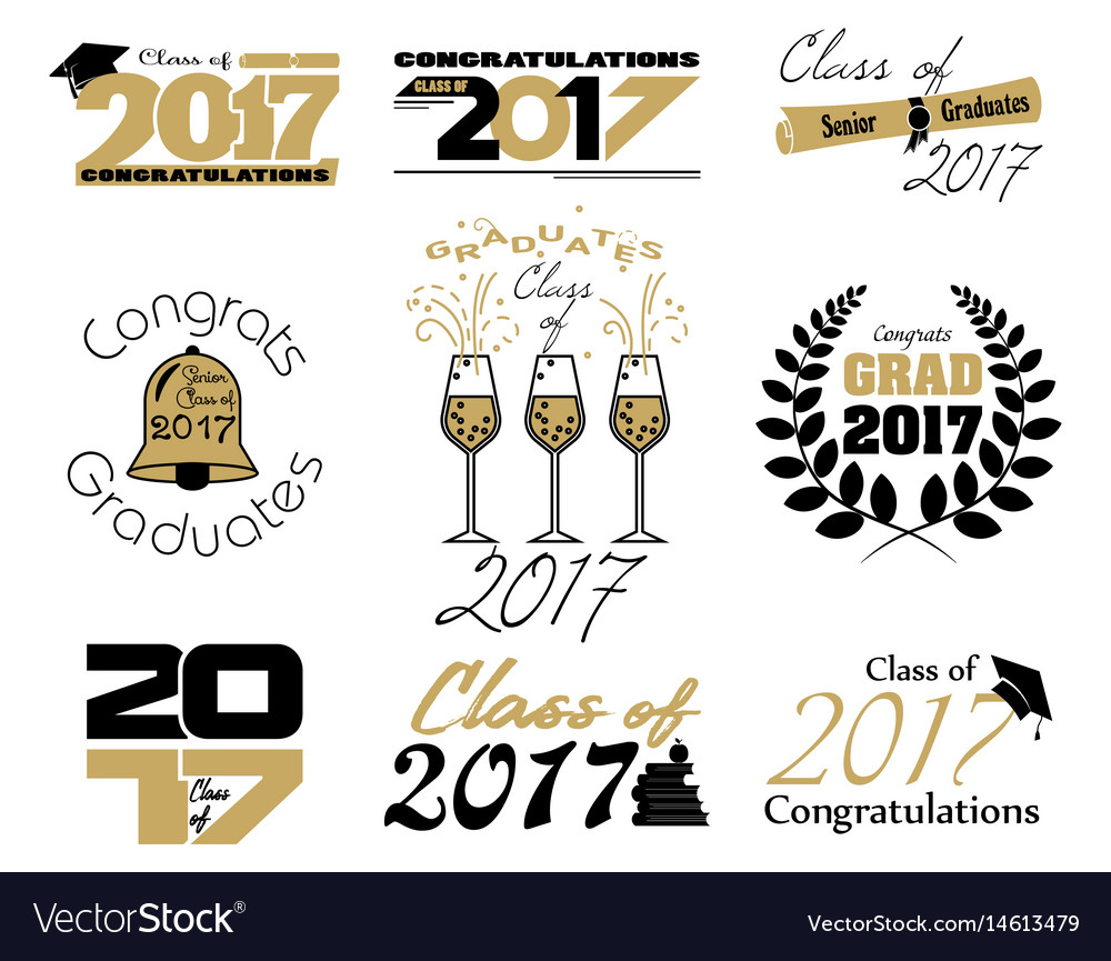 Graduate class labels vector image