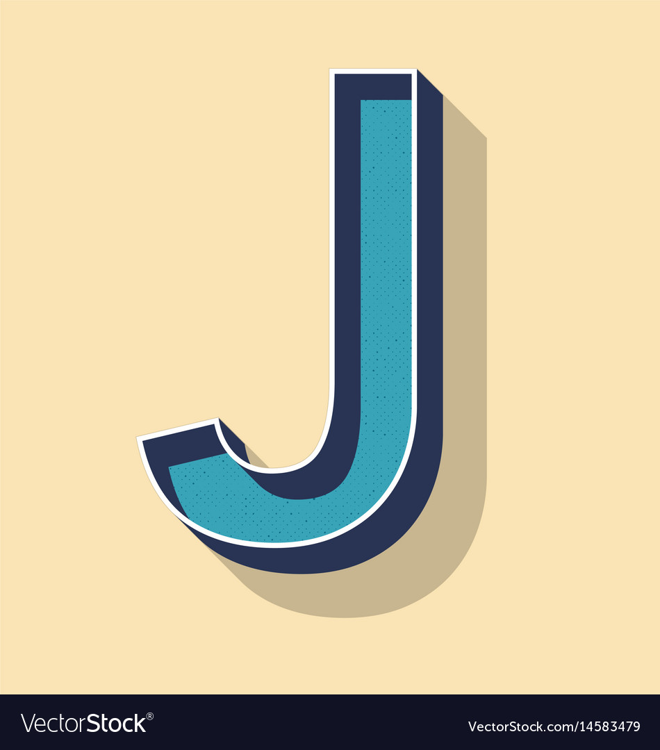 Letter J Retro Text Style Fonts Concept Royalty Free Vector