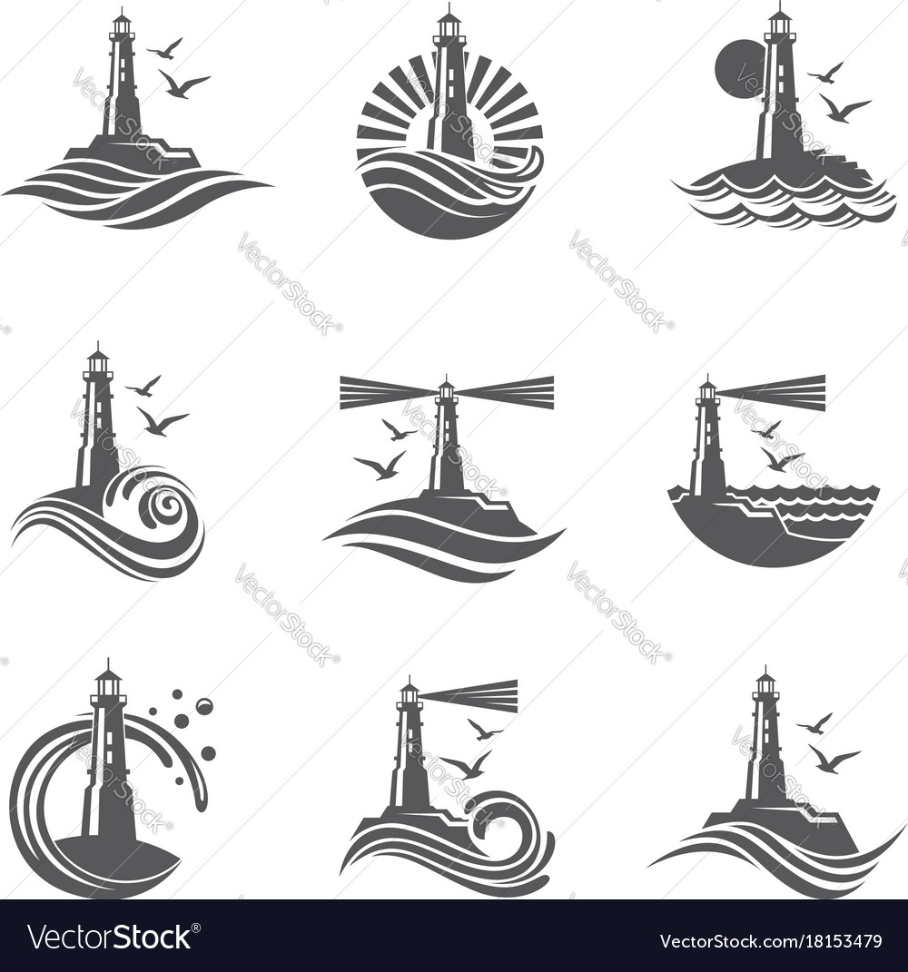 Lighthouse icon set vector image