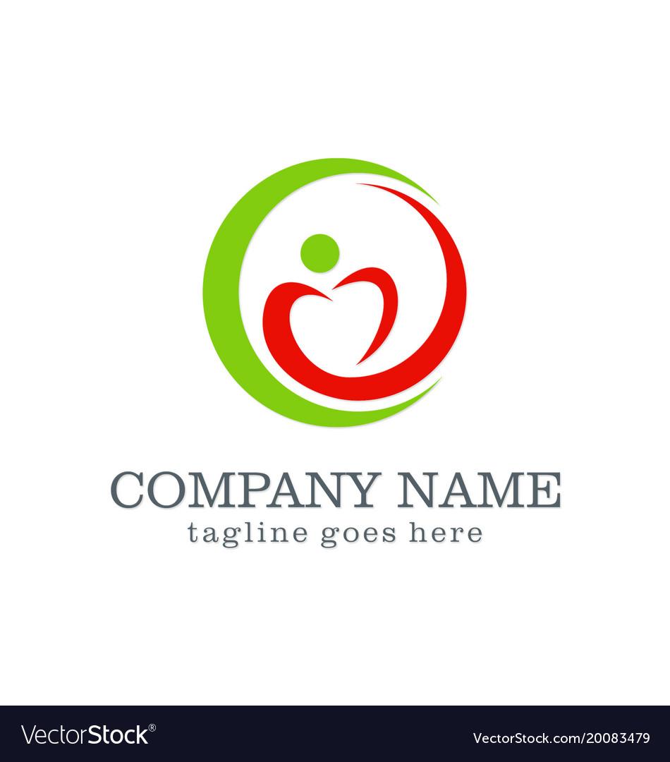 Love circle swoosh company logo vector image