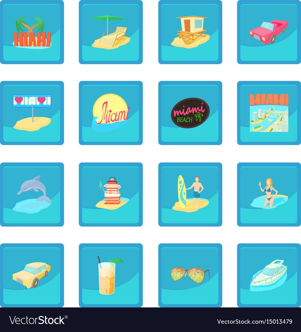 Miami travel icon blue app