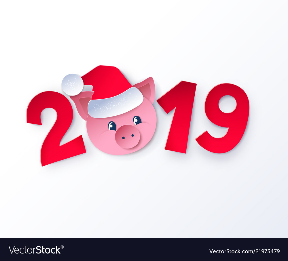 New year cute piggy face in santa hat