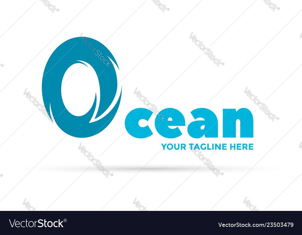 Ocean wave logo letter o symbolizes wave
