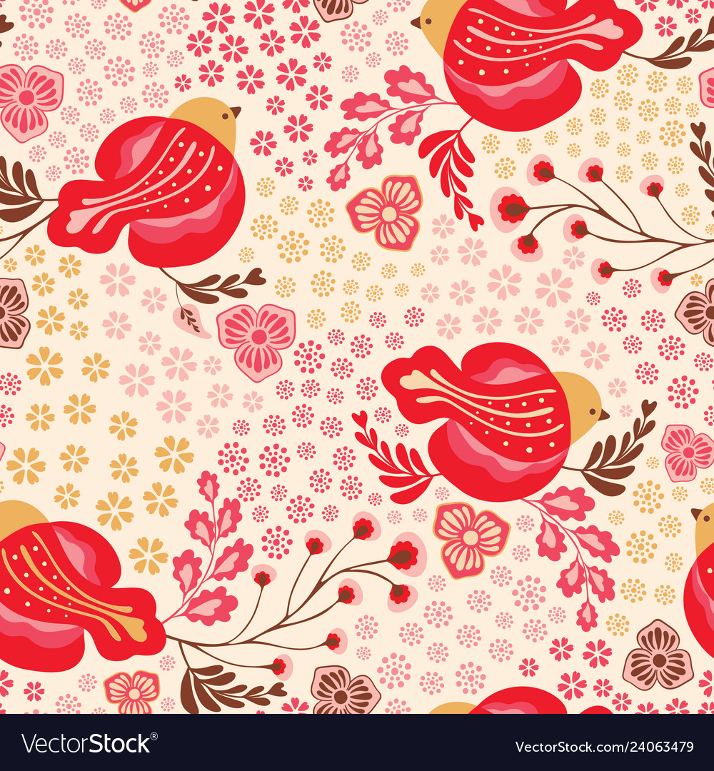 Seamless bright bird and floral vintage