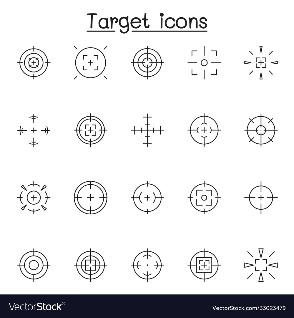Set aim target related line icons contains