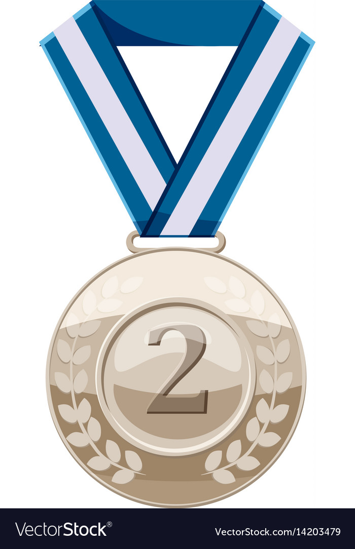 Silver medal with number two icon cartoon style