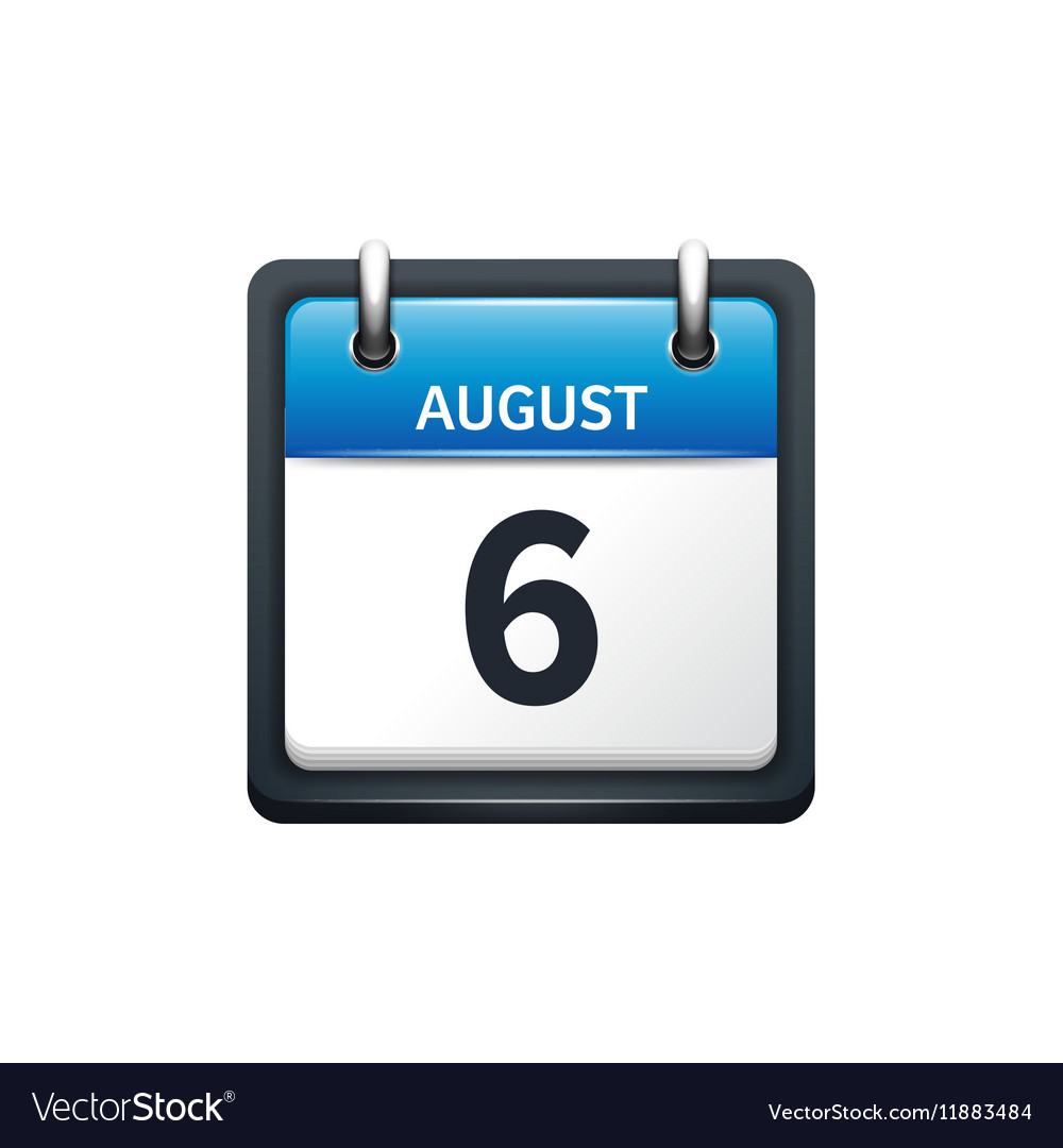 August 6 Calendar icon flat vector image