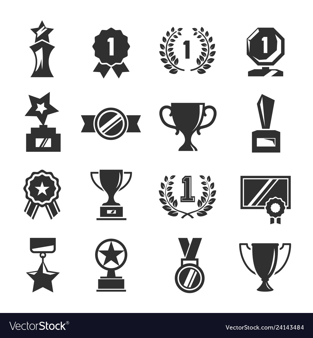 Award for competition winner black icon set