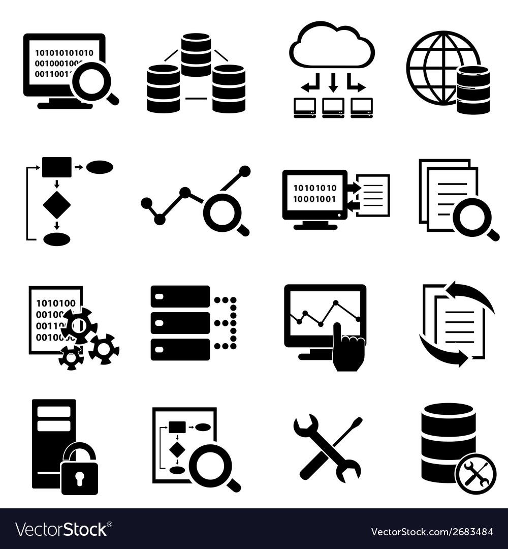 Big data cloud computing icons vector image
