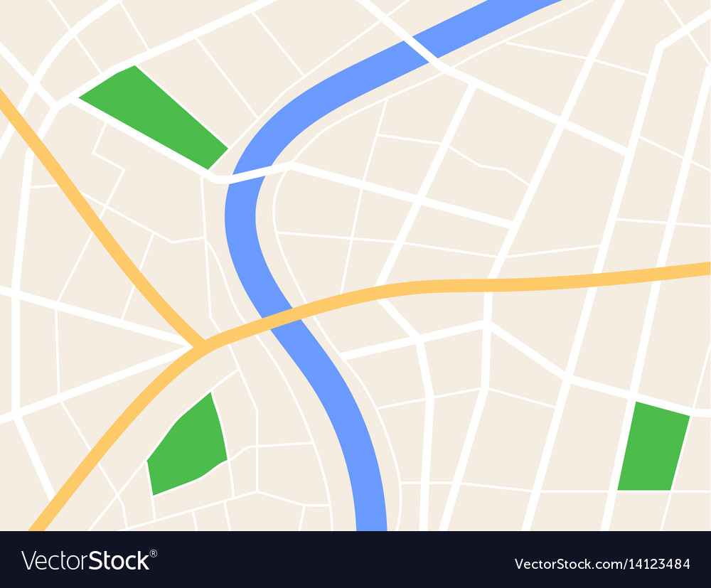 Gps Road Map City gps map background with river and roads Vector Image Gps Road Map