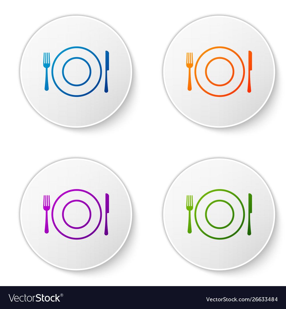 Color plate fork and knife icon isolated on white