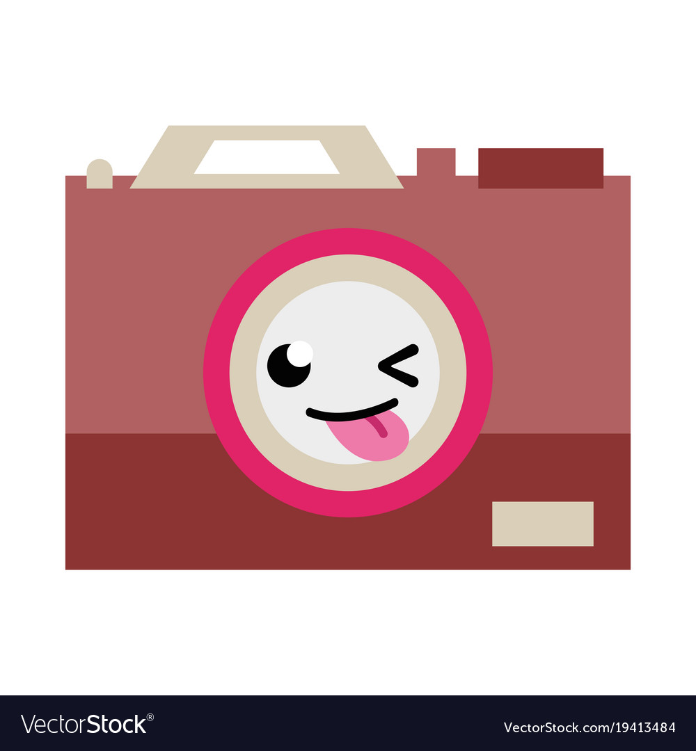 Camera kawaii. Colorful funny technology cartoon
