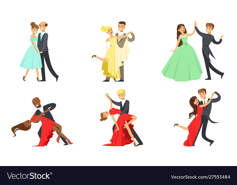 Dancing couples set male and female dancers