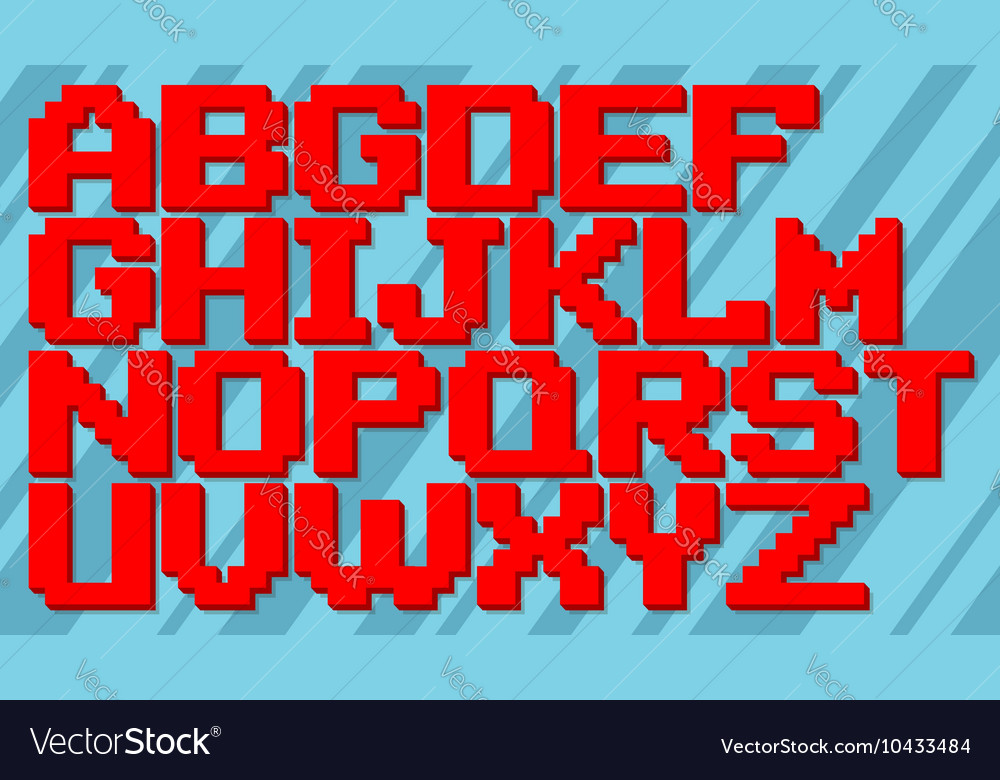 English red and blue pixel alphabet set