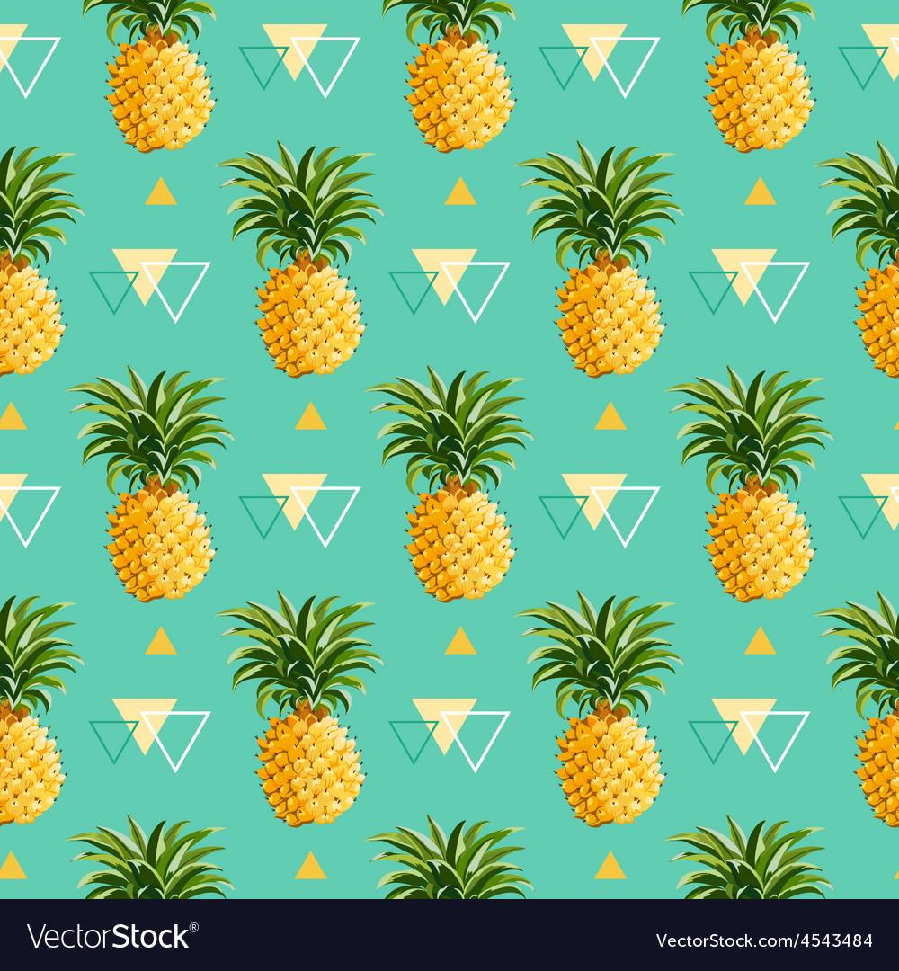 Geometric Pineapple Background - Seamless Pattern Vector Image