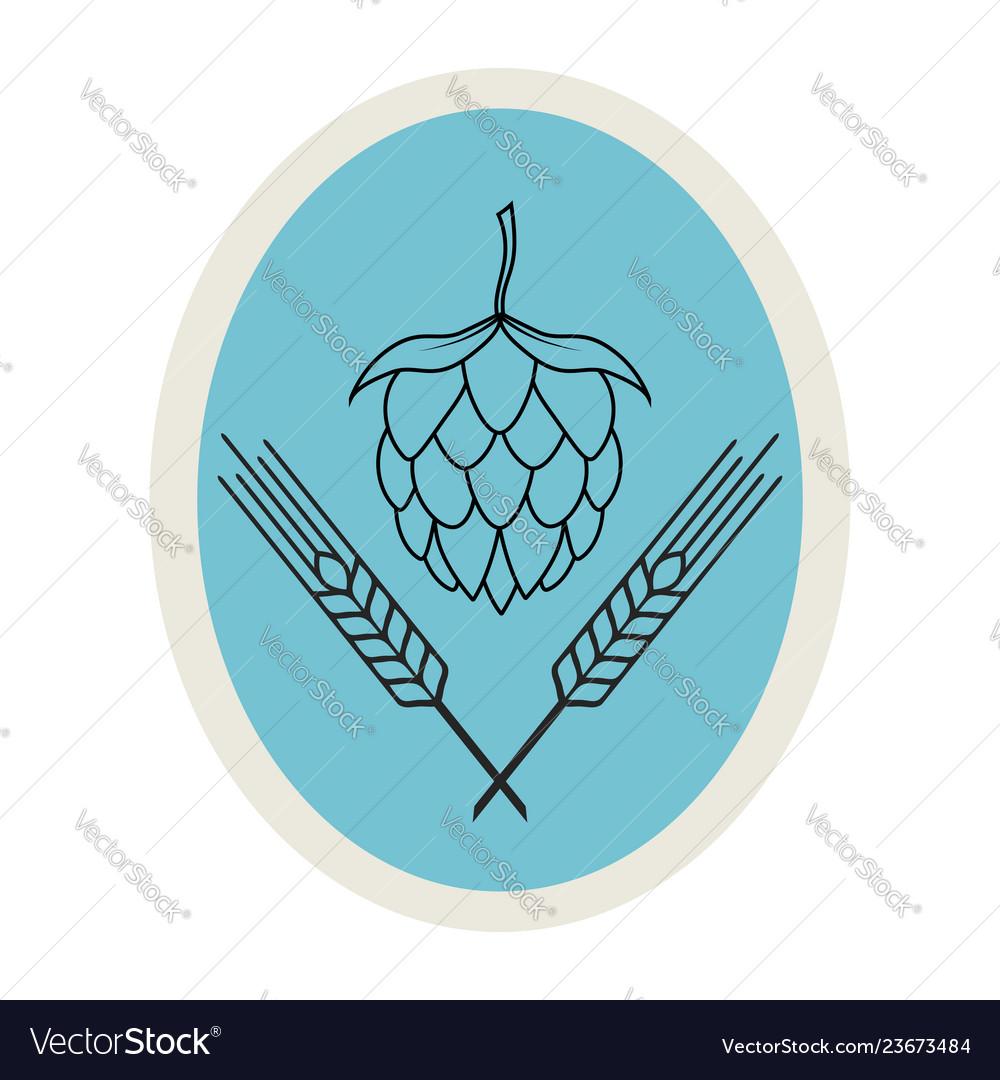 Hop and barley emblem icon label logo beer pub