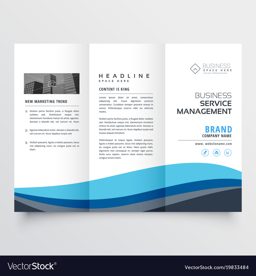 modern trifold leaflet brochure design in blue vector image
