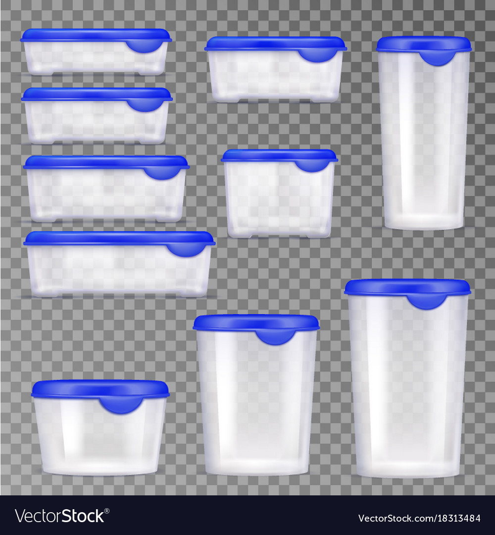 Plastic food containers icon set