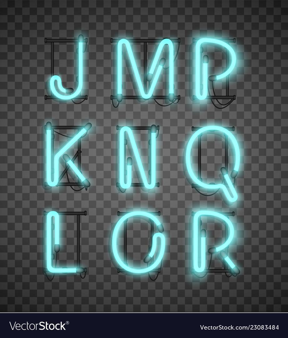 Realistic blue neon alphabet set street bars
