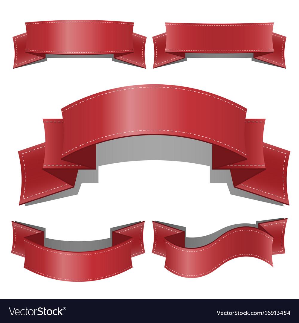 Red glossy ribbon banners set web ribbons