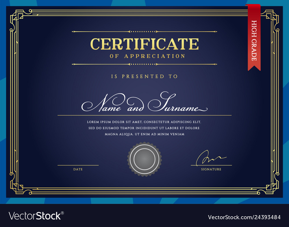 Template diploma currency border certificate