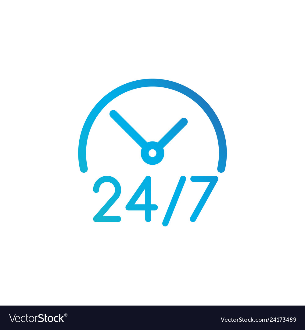 24 hours 7 days icon time clock icon isolated on