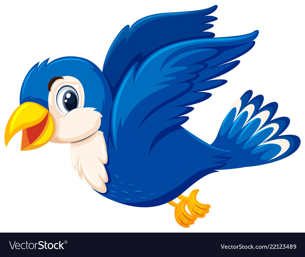 A Cute Blue Bird Flying Royalty Free Vector Image