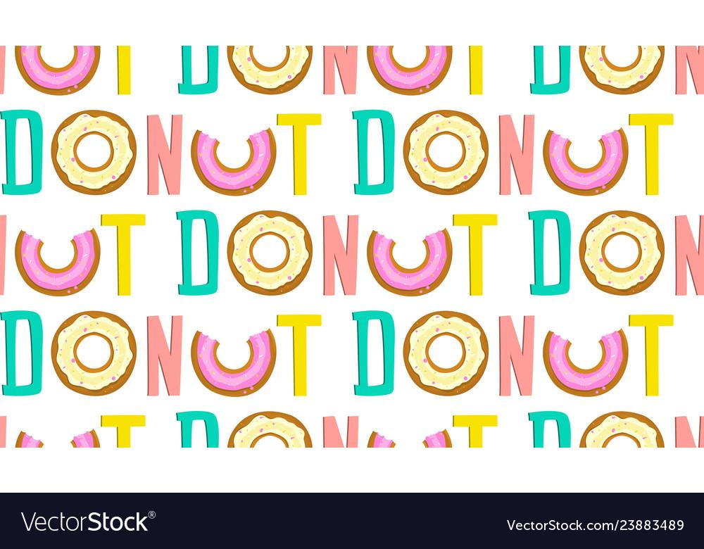 Donut one word seamless pop art pattern