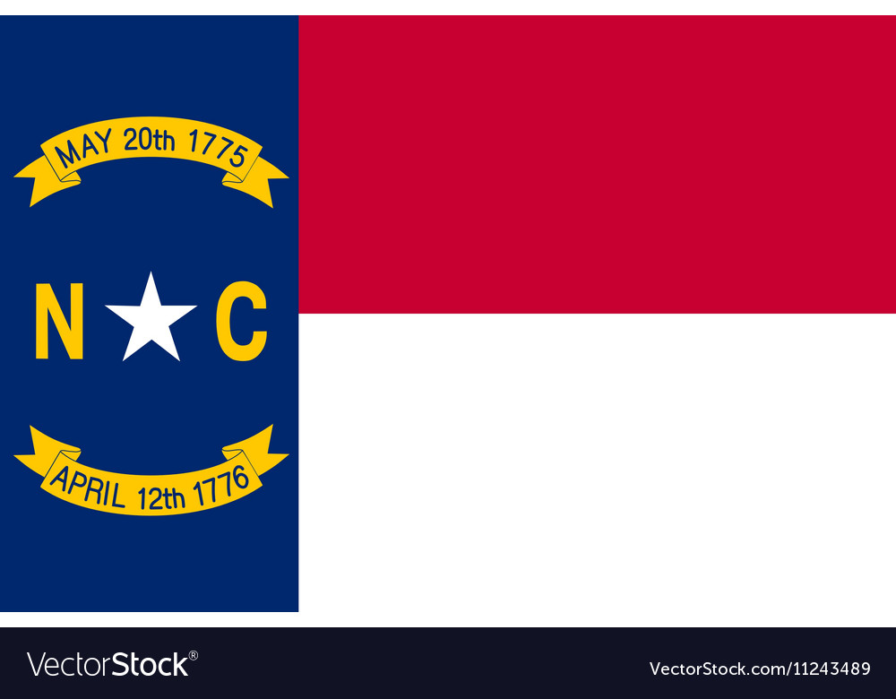 Flag of North Carolina correct size color vector image