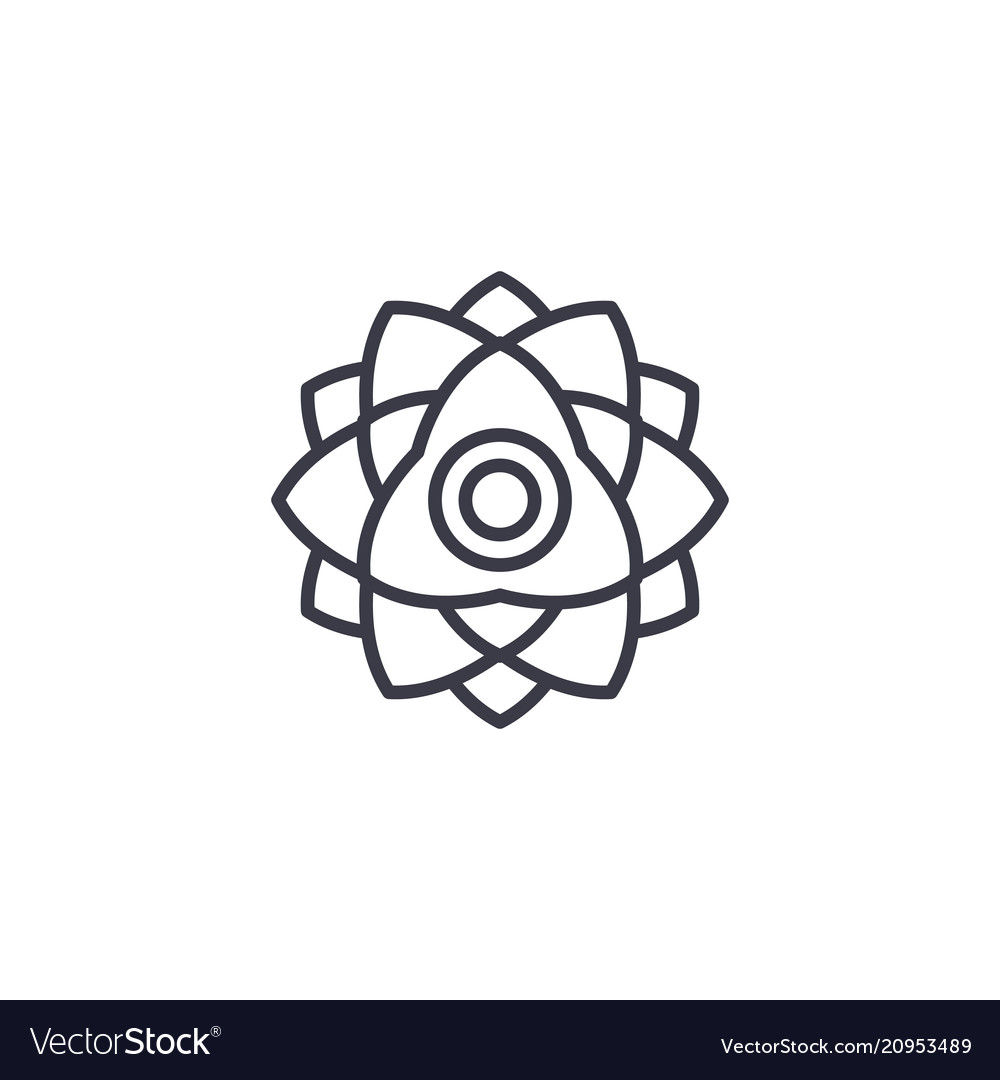 Floral peony line icon concept floral peony flat