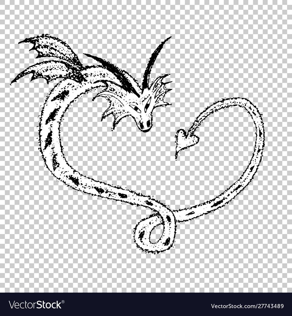 Love heart dragons sketch tattoo