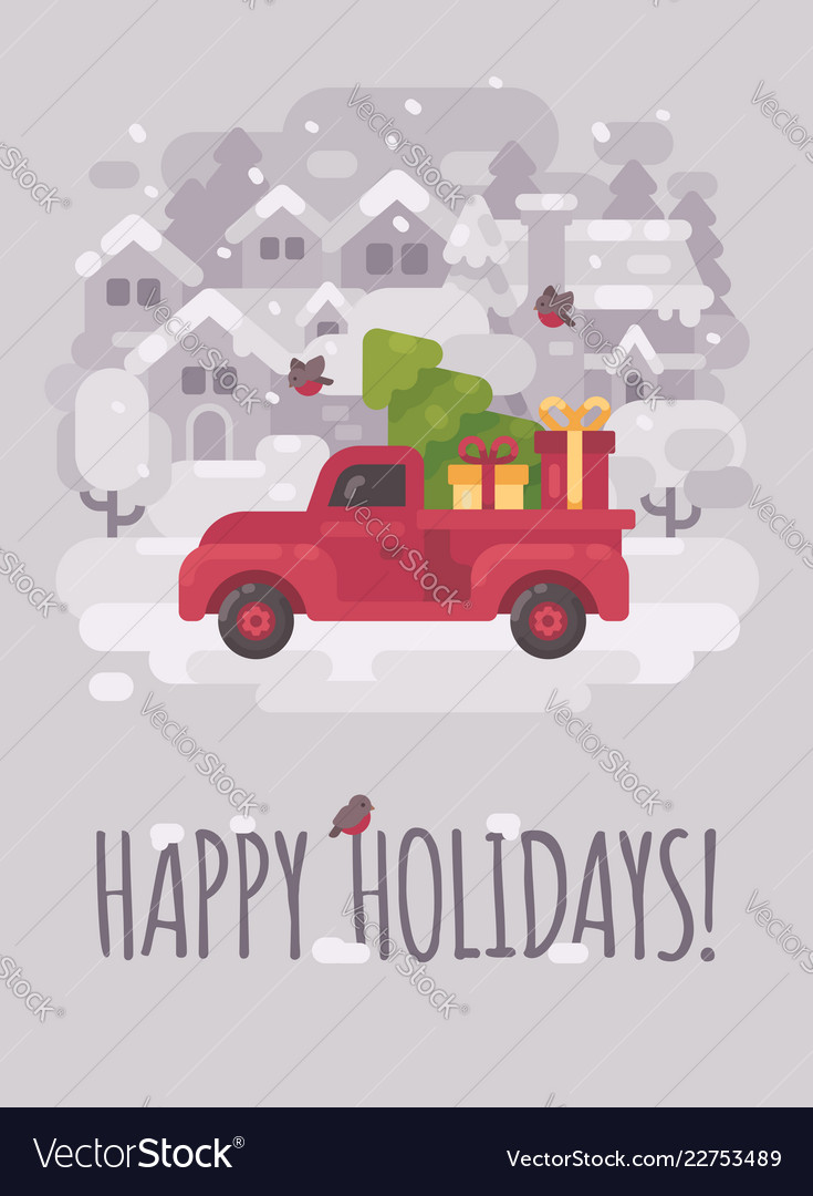 Old Truck With Christmas Tree.Old Red Farm Truck With A Christmas Tree And