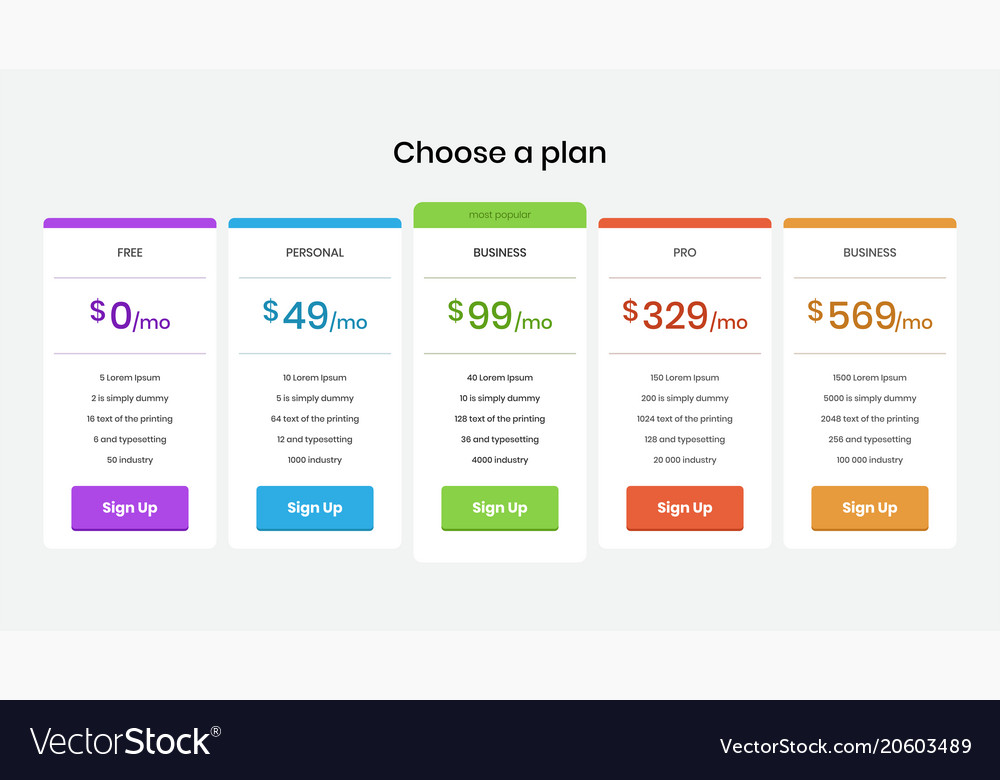 Pricing plans and tables for web and application