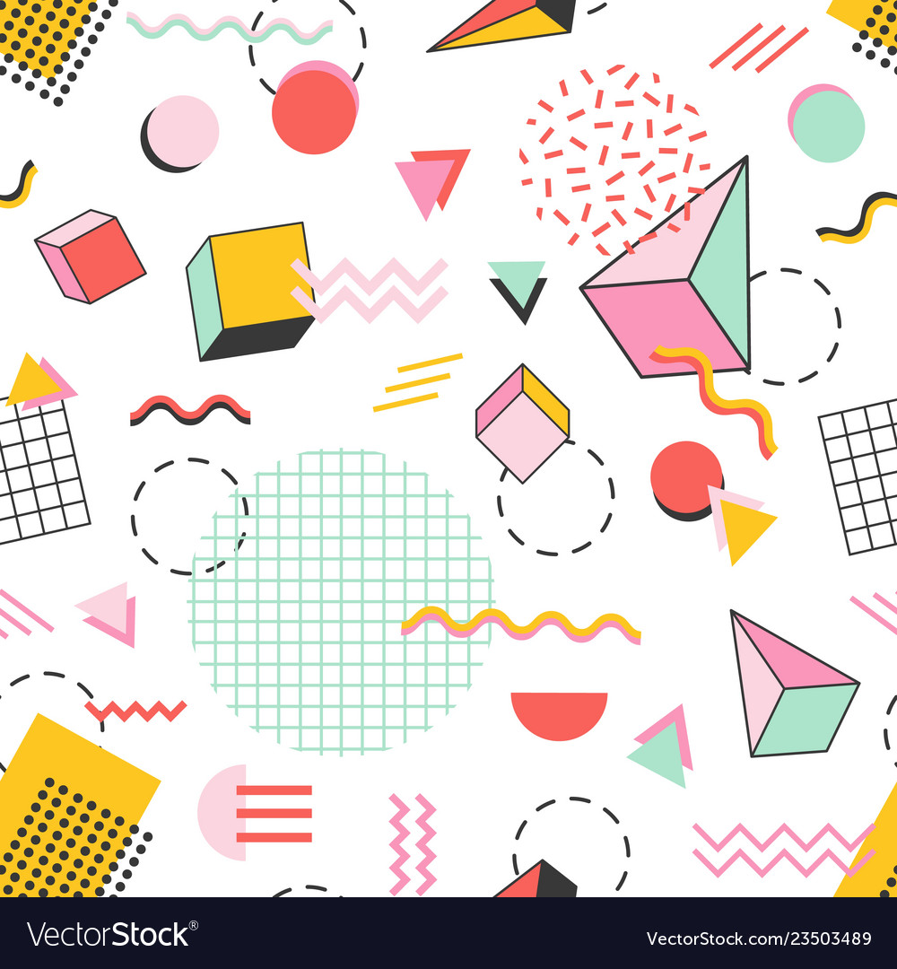 Seamless pattern with pyramids cubes circles
