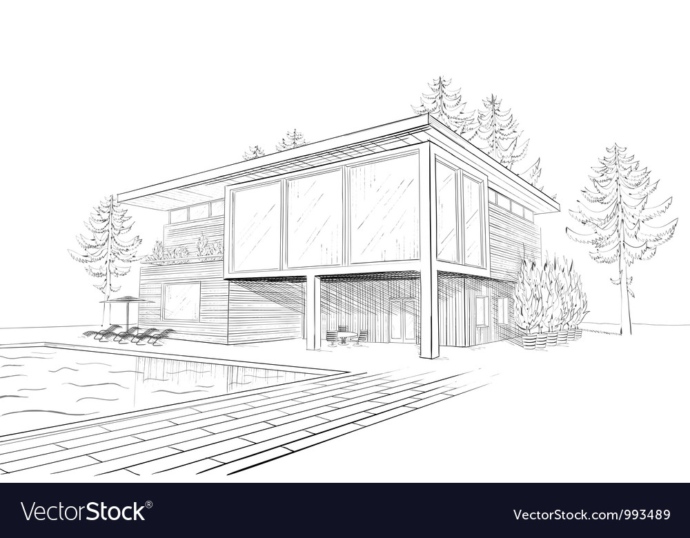 Sketch Of Modern House With Swimming Pool Vector Image