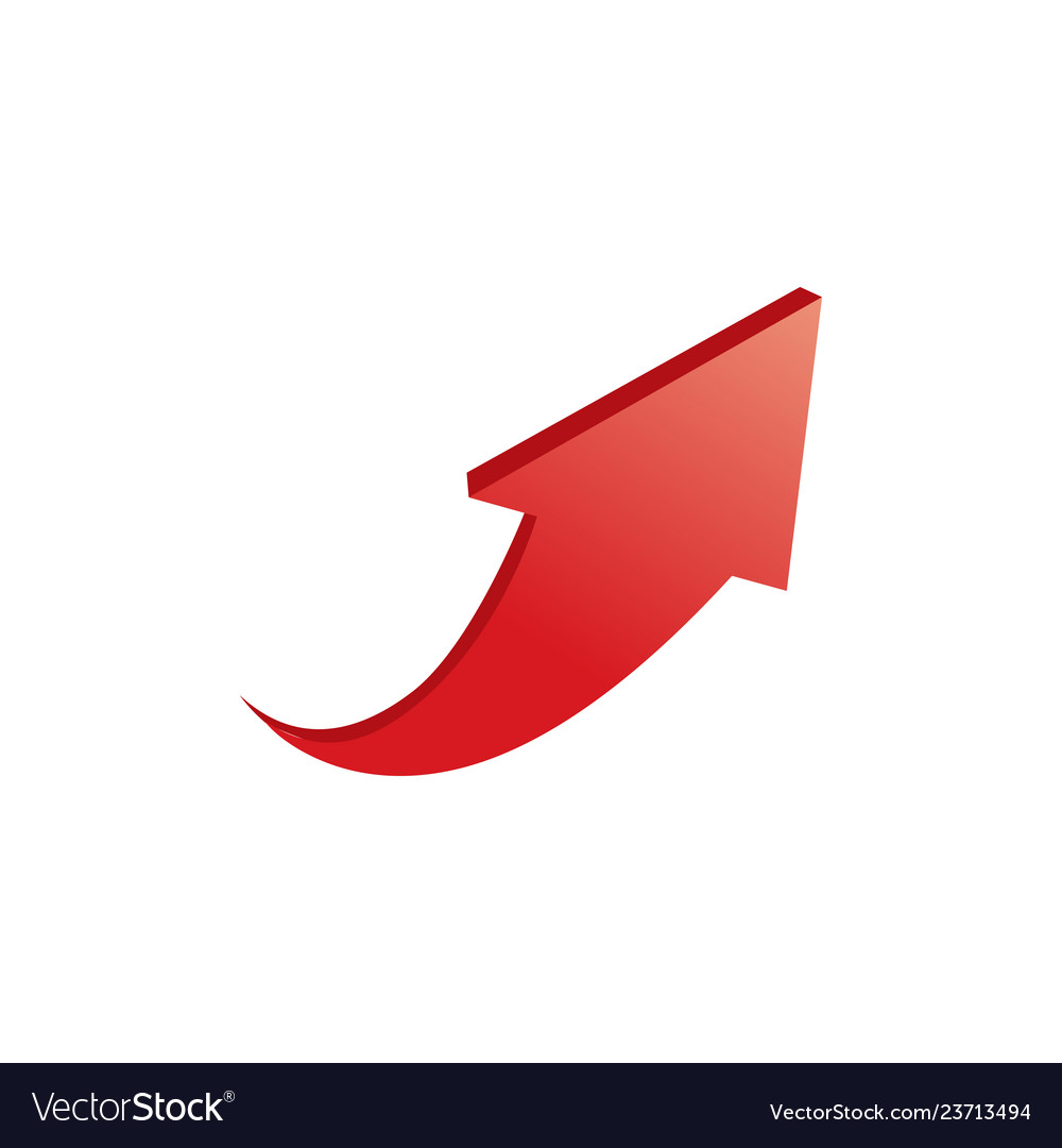 3d red arrow up isolated on white background