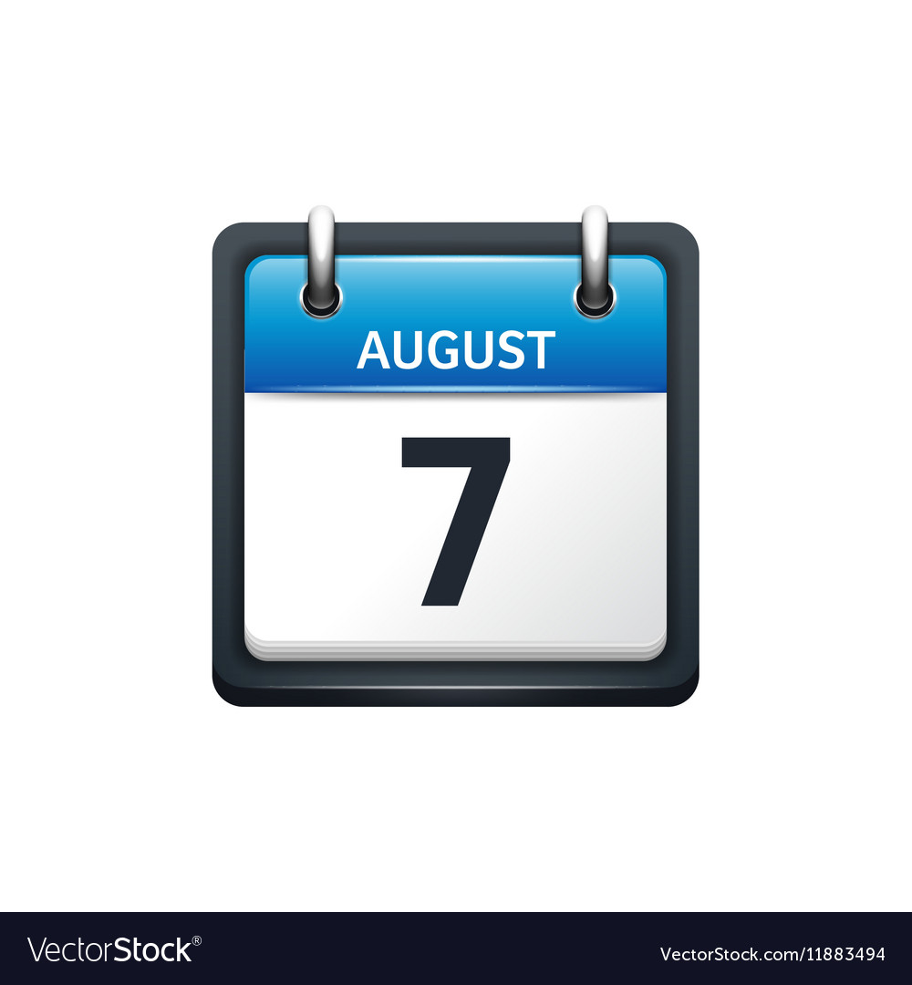 August 7 Calendar icon flat vector image