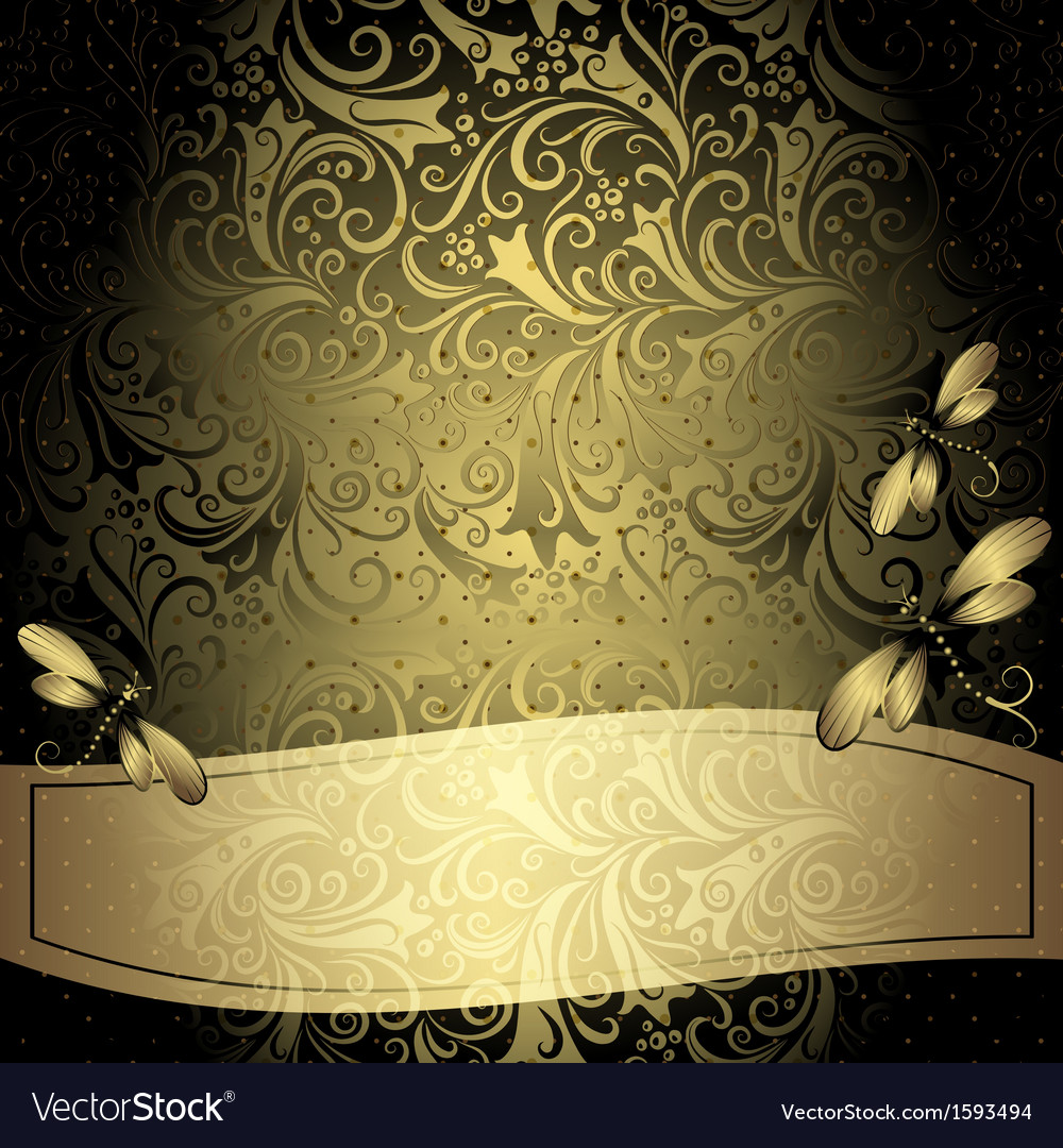 Black Gold Vintage Floral Frame Royalty Free Vector Image