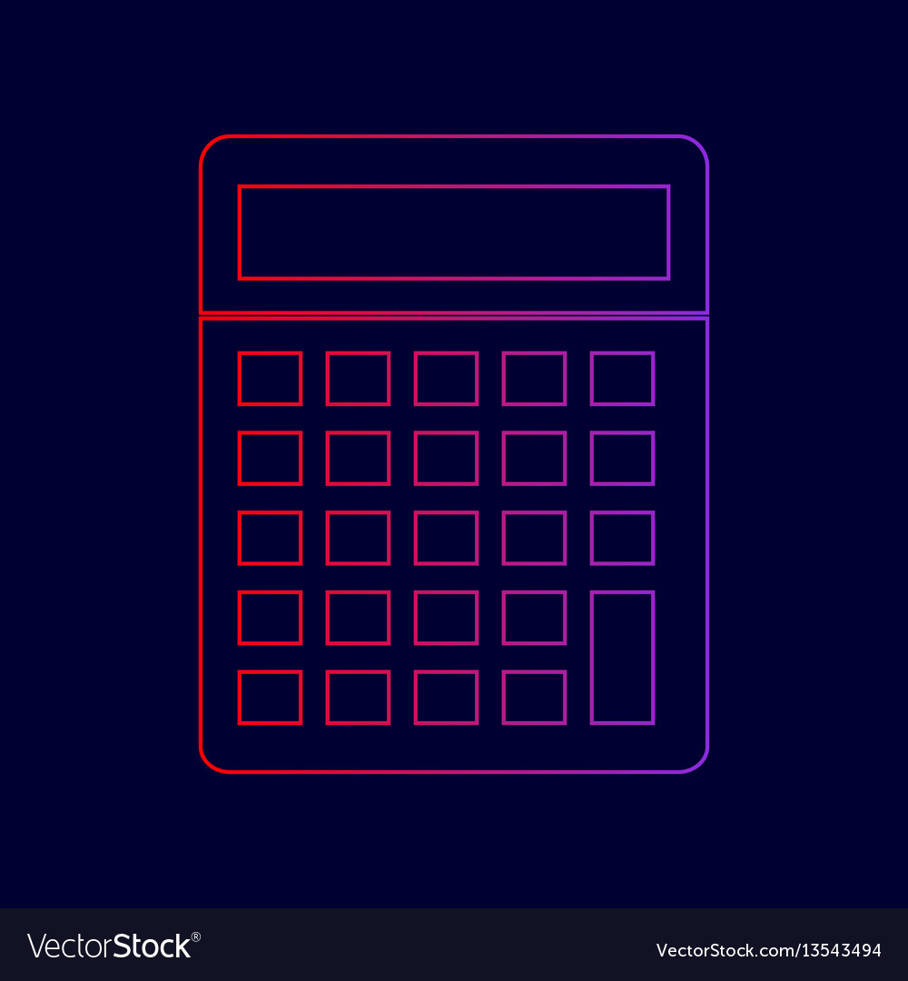 Calculator simple sign line icon with
