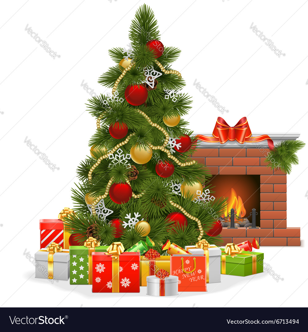Christmas Tree With Fireplace Royalty Free Vector Image