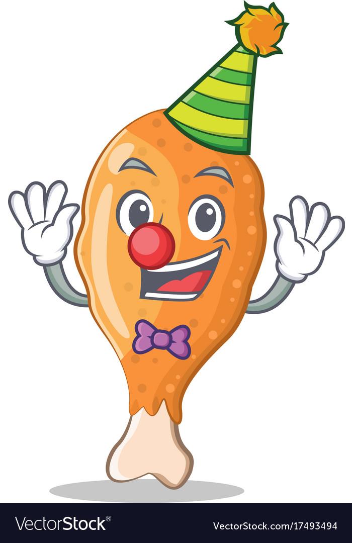 Clown Fried Chicken Character Cartoon Vector Image